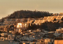 Sunrise Over Mt. Davidson (the highest natural point in San Francisco at 928 feet (283 m), with the Upper Portion of the Cross Visible