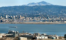 A View of Oakland, CA with the San Francisco Waterfront in the foreground and Mt. Diablo in the background, taken from Twin Peaks.  Photographed using a Canon SX40 HS camera.