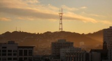 A Colorful Winter Sunset Showing Twin Peaks and Mount Sutro Tower, San Francisco