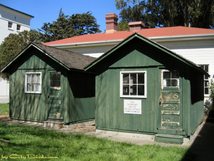 these earthquake cottages located at the rear of the old wright army hospital presidio of san francisco were used as shelter for victims of the 1906 san